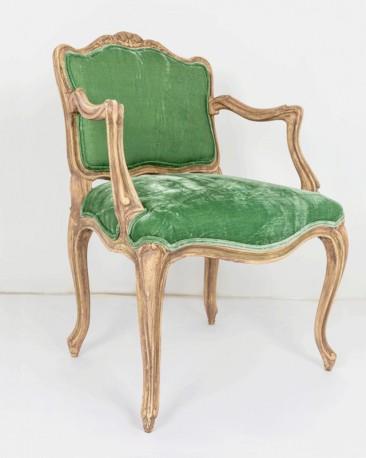 Bergère Armchair Green Silk Velvet