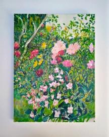 Huile sur toile - Etude au Jardin - 30x40 cm