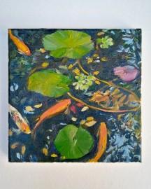 Huile sur toile, Etude au Bassin N°2 - 20x20 cm