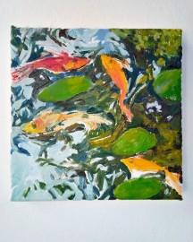 Huile sur toile - Etude au Bassin N°3 - 20x20 cm