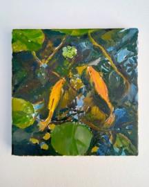 Huile sur toile - Etude au Bassin N°4 - 20x20 cm