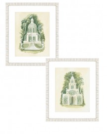 Reproduction of watercolors, Architecture and Botany