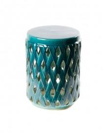 Guéridon Céramique Turquoise Tressée