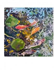 Huile sur toile - Etude au Bassin N°8 - 20x20 cm