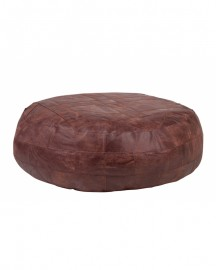 Round Beanbag Ottoman Brown Leather ø120cm