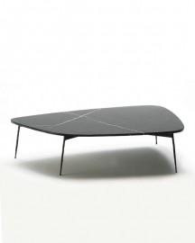 Table Basse Marbre et Métal Noirs - 120cm