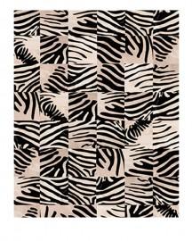 Tapis Peau Patchwork Façon Zebra
