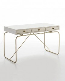 Ursula Desk White Wood and Gold Metal