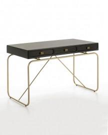 Desk Ursula Black and gold metal 120cm