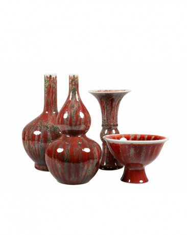 Set of 4 Glazed Ceramic Vases
