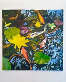 Huile sur toile, Etude au Bassin N°10 - 30x30 cm