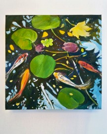 Huile sur toile, Etude au Bassin N°11 - 30x30 cm