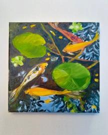 Huile sur toile, Etude au Bassin N°12 - 20x20 cm