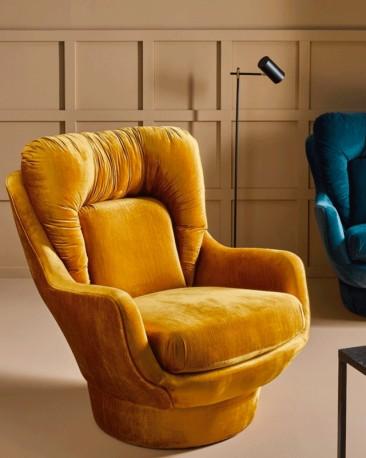 Yellow Gold Velvet Lounge Armchair Amparo 70s design
