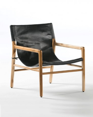 Barry Teak and Black Leather Armchair