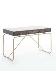 Gray Wood and Golden Metal Desk Ursula