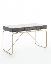 Gray Wood and Golden Metal Desk Ursula