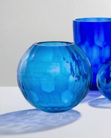 Ultramarine Blue Glass Vase H26cm