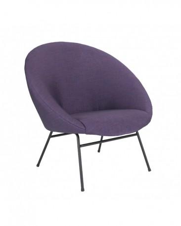 Armchair Violette, Purple Woven Linen