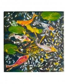 Huile sur toile, Etude au Bassin N°13 - 20x20 cm