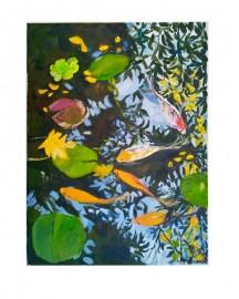 Huile sur toile, Etude au Bassin N°14 - 30x40 cm