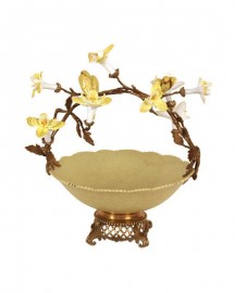 Yellow, Porcelain and Bronze Orchid Cup