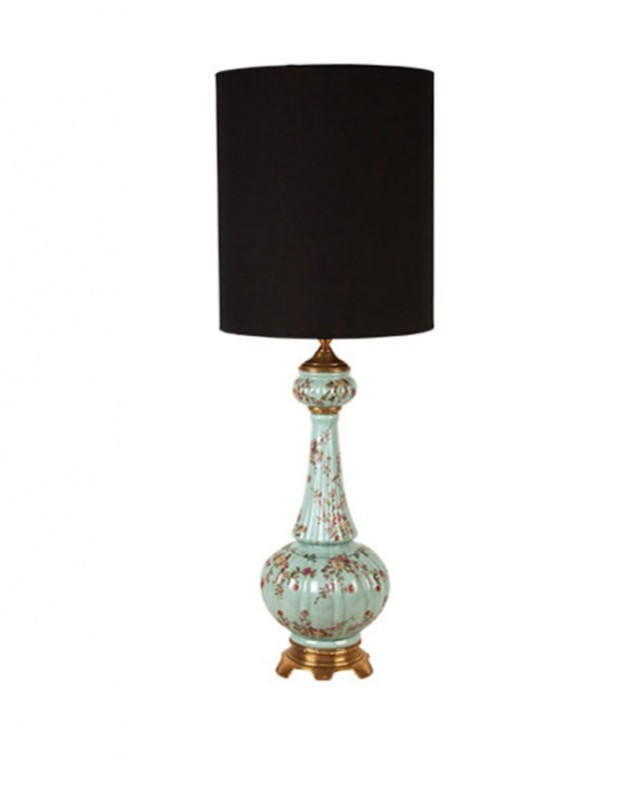 Large Table Lamp In Blue Porcelain, Porcelain Table Lamp