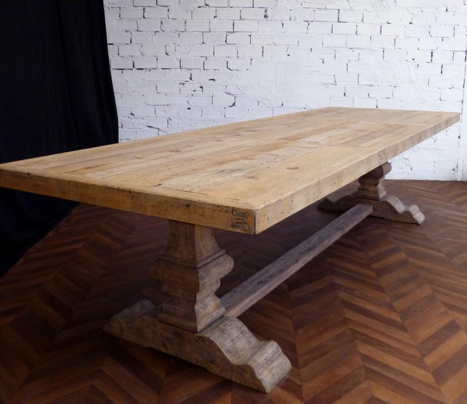 Grande table de ferme table monast re ancienne en bois massif de campagne - Grande table bois massif ...
