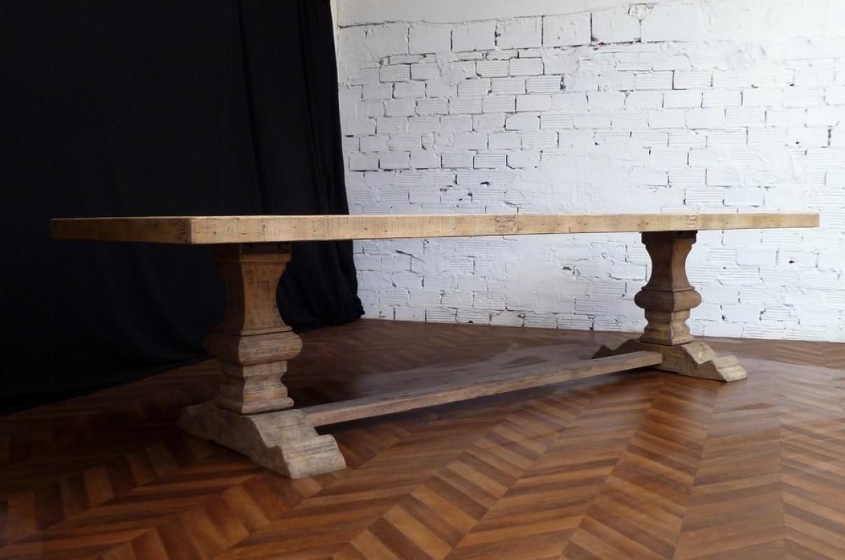 Grande Et Belle Table De Ferme Monastere En Bois Brut Naturel De 330