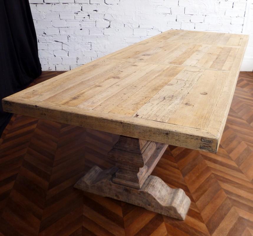 Grande et belle table de ferme monast re en bois brut for Grand plateau de table