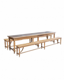 Beautiful Old Table and its 2 Benches - 300 cm