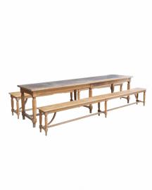 Belle Table Ancienne et ses 2 Bancs - 300 cm