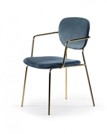 Indigo Velvet chair Zora with armrests, the set