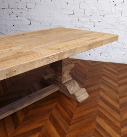 Old pin wood farm table