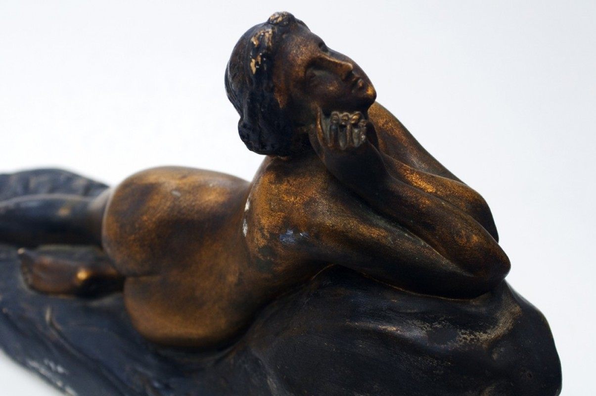 Bronze Coated Plaster Sculpture After The Thinker | Chairish