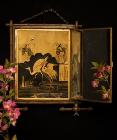 Japanese-inspired triptych mirror