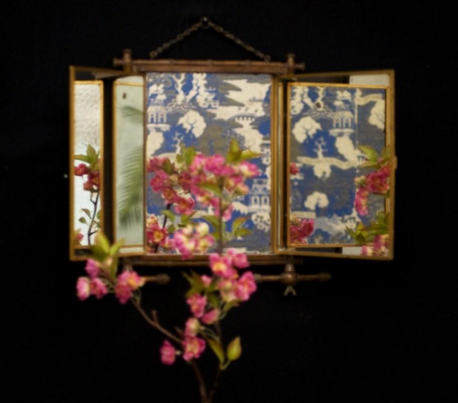Miroir triptyque ancien vintage miroir bambou napol on iii for Miroir triptyque