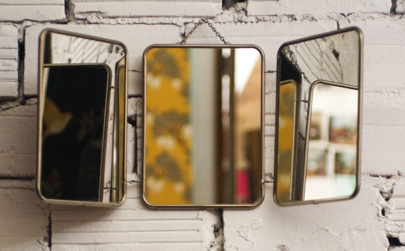 miroir triptyque vintage, miroir ancien, objet déco vintage