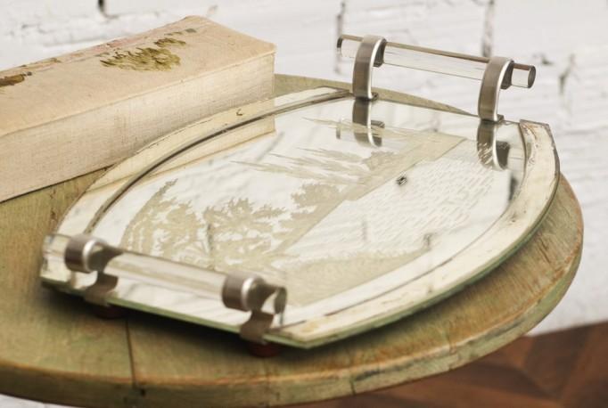 Plateau de service en verre ancien d co retro cuisine for Objet cuisine retro