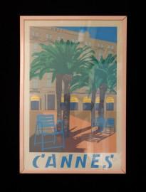 Affiche 1950 de Cannes et du Carlton
