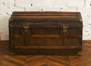 Large ancient travel trunk
