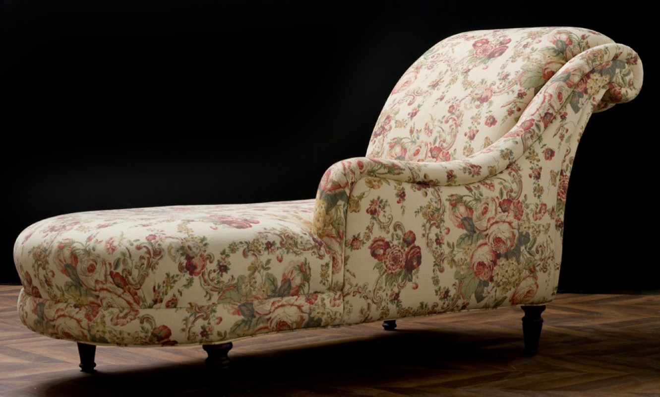 m ridienne ancienne chaise longue r tro en tissus laura. Black Bedroom Furniture Sets. Home Design Ideas