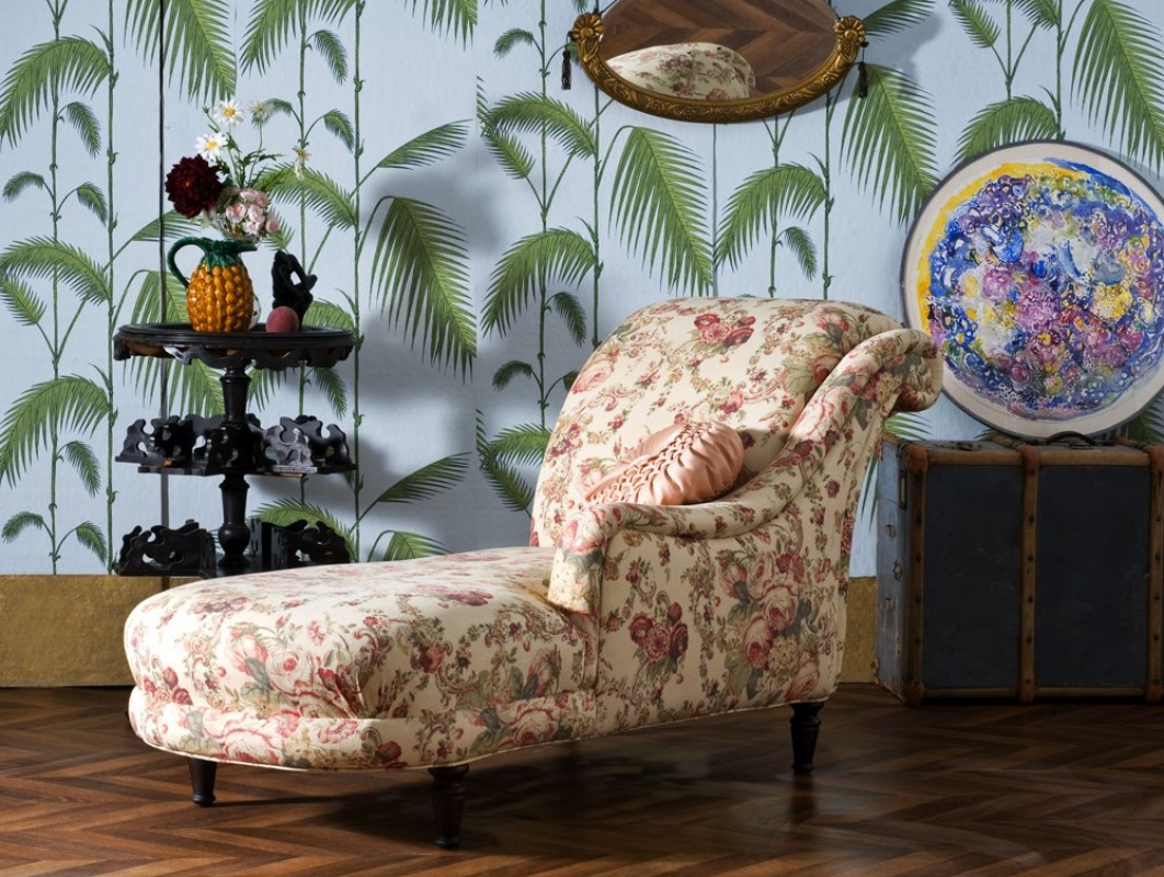 m ridienne ancienne chaise longue r tro en tissus laura ashley napol on iii mobilier. Black Bedroom Furniture Sets. Home Design Ideas