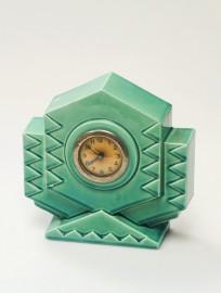 Réveil-pendulette turquoise Art Déco
