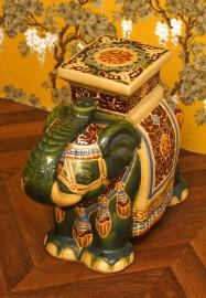 Green Asian elephant statue