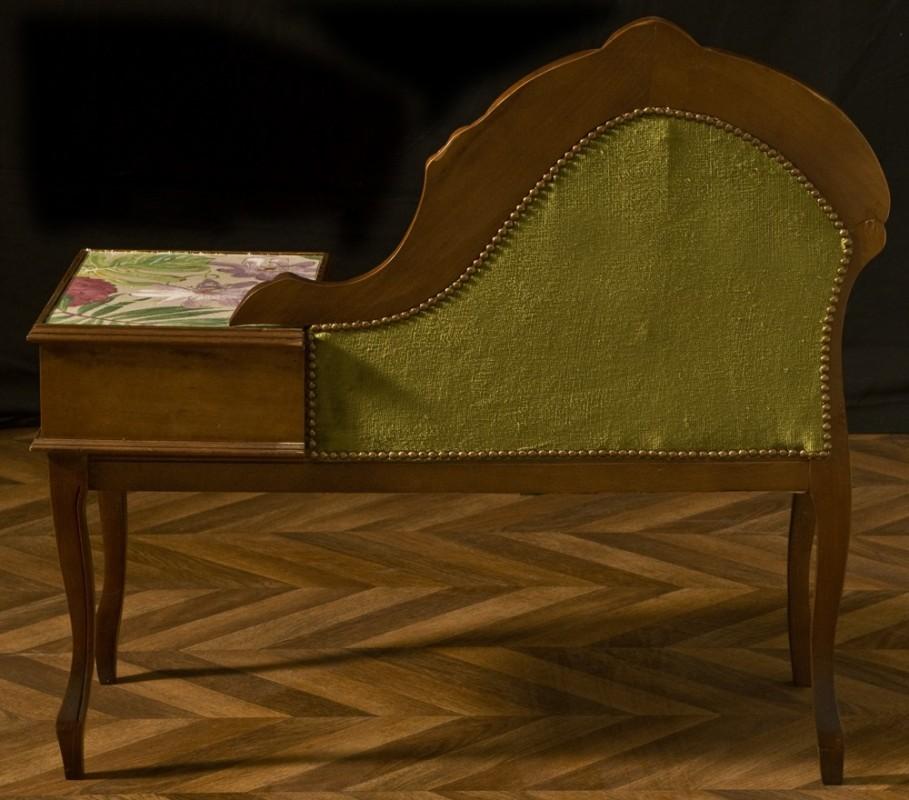 banquette de t l phone bois et velours meuble ancien et vintage. Black Bedroom Furniture Sets. Home Design Ideas