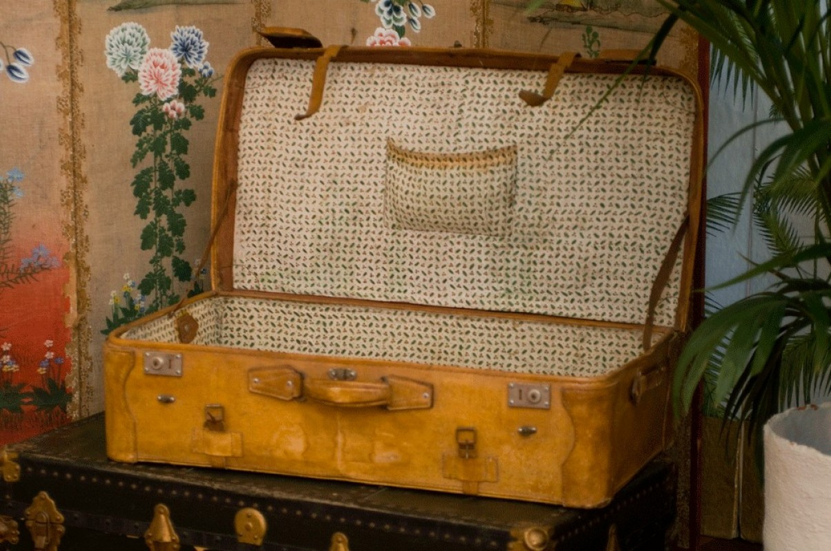 Valise vintage cuir ann es 30 1940 malle ancienne valise ancienne en cui - Vieille malle de voyage ...