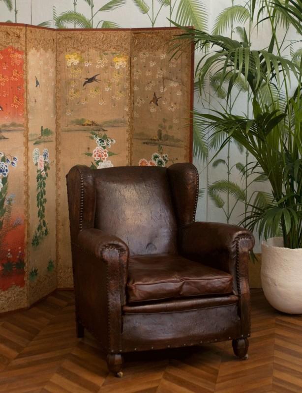 fauteuil club ancien fauteuil club vintage fauteuil oreilles ancien cuir r tro ann es. Black Bedroom Furniture Sets. Home Design Ideas