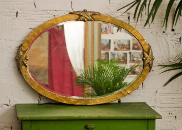 Grand miroir ancien r tro vintage oval ann es 1900 for Grand miroir large