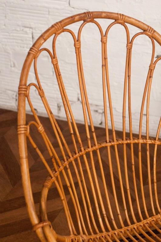 Vintage rattan chair 50s 1950 vintage rattan chairs - Chaise design annee 50 ...